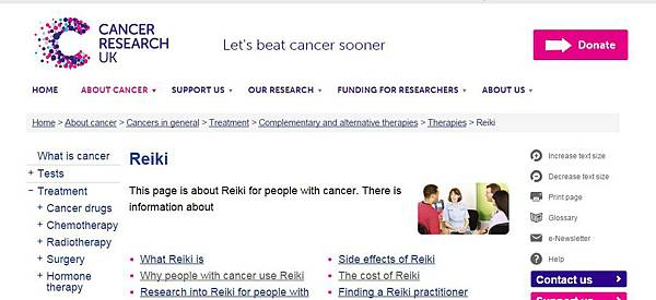 UK cancer Reiki use