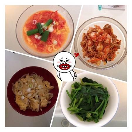 番茄炒蛋&洋蔥炒蛋&泡菜炒豬肉&菠菜.JPG