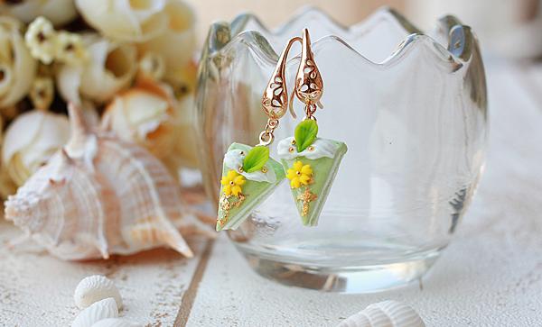PINKOI-抹綠櫻花耳環