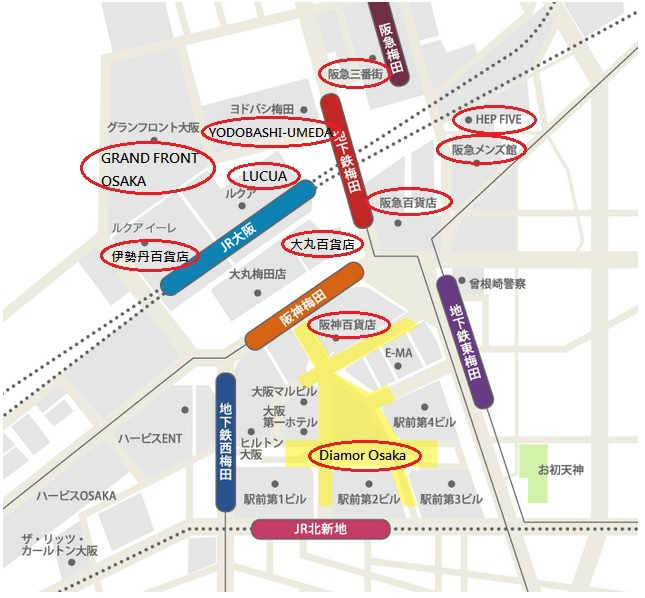 大阪梅田逛街地圖