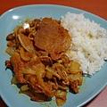 醃料豬肉片+洋蔥+金針菇