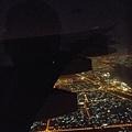 杜拜上空附近的夜景。