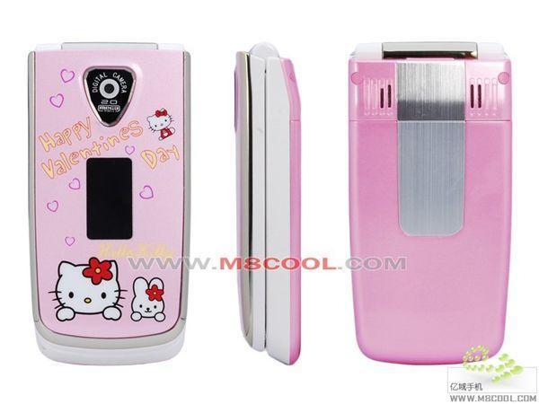 MISSY040双钻+消保.新年新款 hello kitty 双卡双待镜面翻盖粉红女性手机 粉色 RM420.bmp