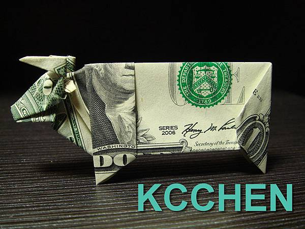 美金摺紙牛(鈔票摺紙)dollar bill origami