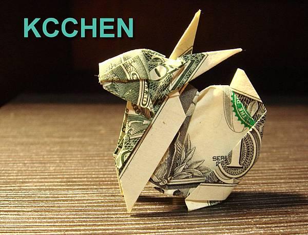美金摺紙兔(鈔票摺紙)dollar bill origami