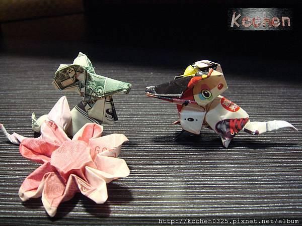 鈔票摺紙 美金台幣老鼠 錢花 dollar bill origami (63)
