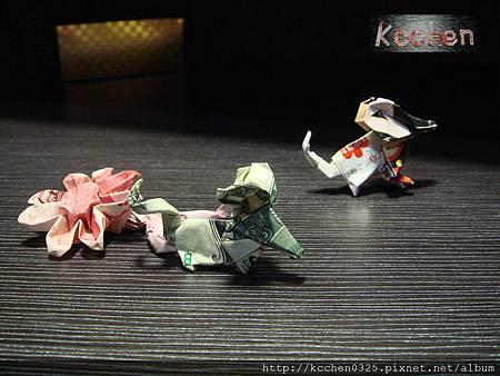鈔票摺紙 美金台幣老鼠 錢花 dollar bill origami (67)
