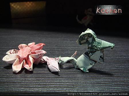 鈔票摺紙 美金台幣老鼠 錢花 dollar bill origami (70)