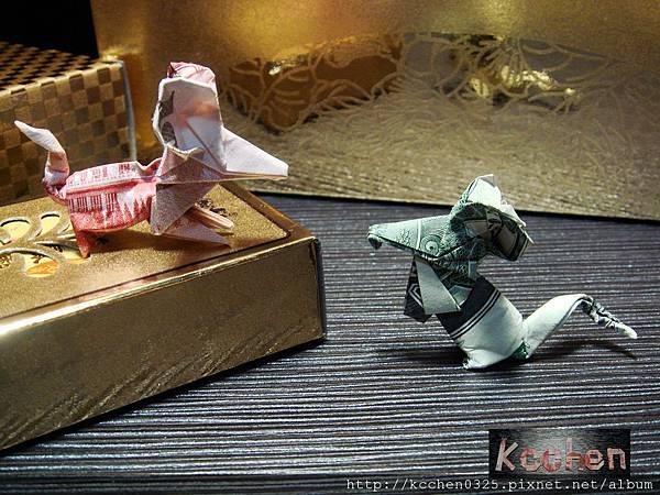 鈔票摺紙 美金台幣老鼠 錢花 dollar bill origami (30)