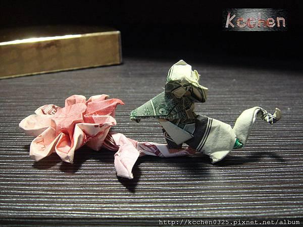 鈔票摺紙 美金台幣老鼠 錢花 dollar bill origami (44)
