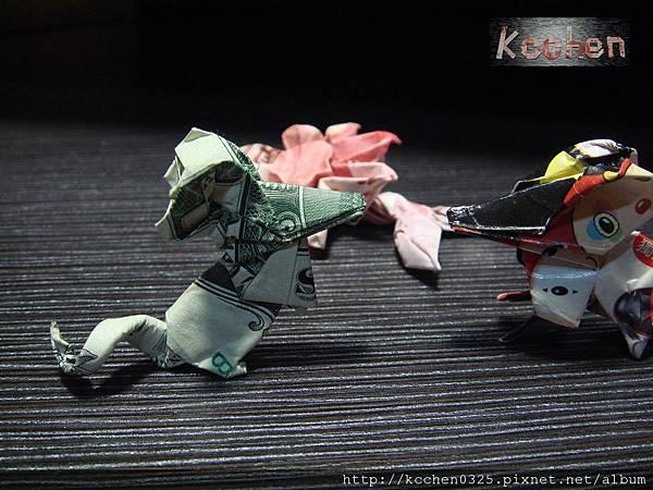 鈔票摺紙 美金台幣老鼠 錢花 dollar bill origami (60)
