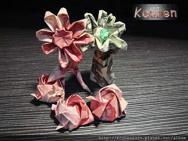 鈔票摺紙 美金台幣老鼠 錢花 dollar bill origami (1)