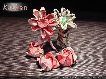 鈔票摺紙 美金台幣老鼠 錢花 dollar bill origami (2)