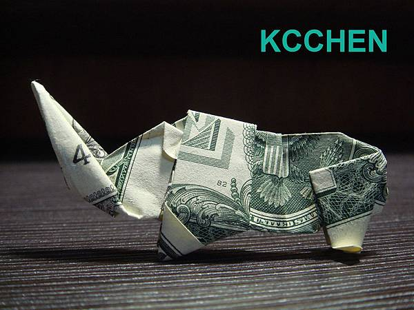 美金摺紙 鈔票摺紙 犀牛 dollar bill origami folding (11)