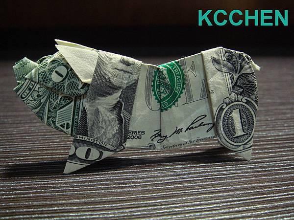 紙鈔摺紙 美元摺紙 豬 dollar bill origami folding (7)
