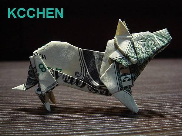 紙鈔摺紙 美金摺紙 狗 dollar bill origami folding (21)