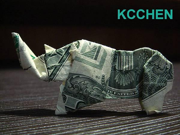 紙鈔摺紙 美金摺紙 犀牛 dollar bill origami folding (10)