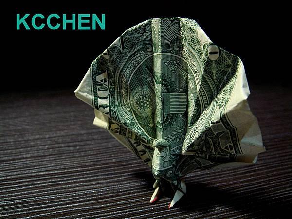 紙鈔摺紙美金摺紙 孔雀 dollar bill origami folding (5)
