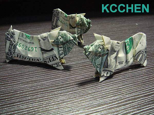 鈔票摺紙 美元摺紙 豬 dollar bill origami folding (9)