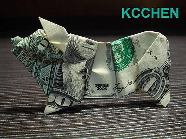 鈔票摺紙 美金摺紙 豬 dollar bill origami folding (8)