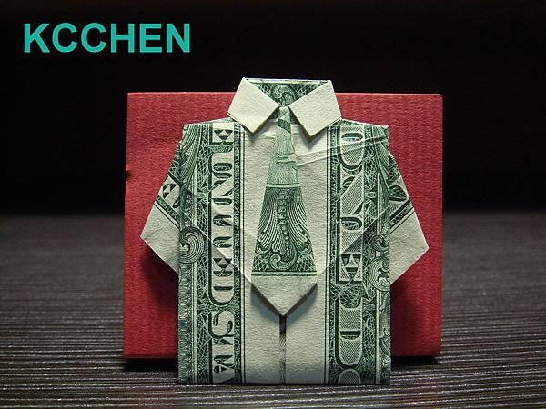鈔票摺紙 紙鈔摺紙 衣服 綠dollar bill origami folding (1)