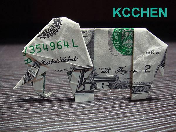 鈔票摺紙 美金摺紙 紙鈔摺紙 大象 dollar bill origami folding (1)