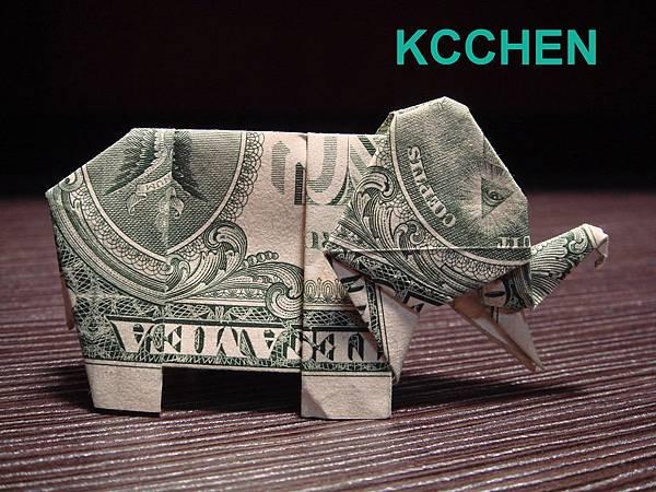 鈔票摺紙 美金摺紙 紙鈔摺紙 大象 dollar bill origami folding (2)