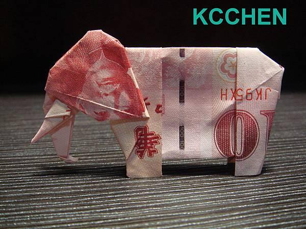 鈔票摺紙 美金摺紙 紙鈔摺紙 大象 dollar bill origami folding (4)