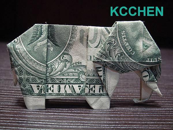 鈔票摺紙 美金摺紙 紙鈔摺紙 大象 dollar bill origami folding (6)