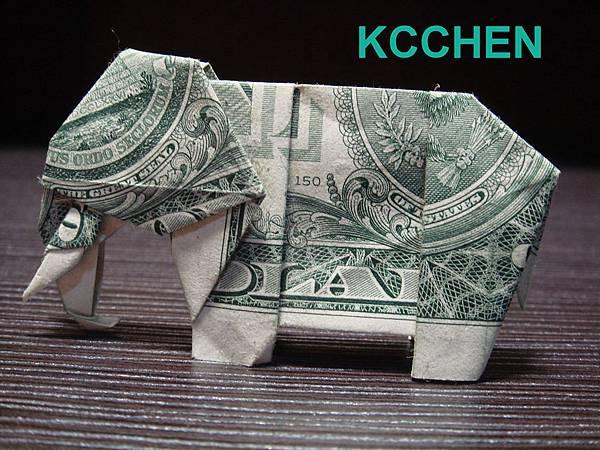 鈔票摺紙 美金摺紙 紙鈔摺紙 大象 dollar bill origami folding (7)