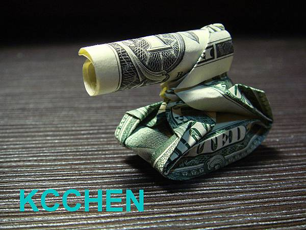 鈔票摺紙 坦克車 dollar bill origami3