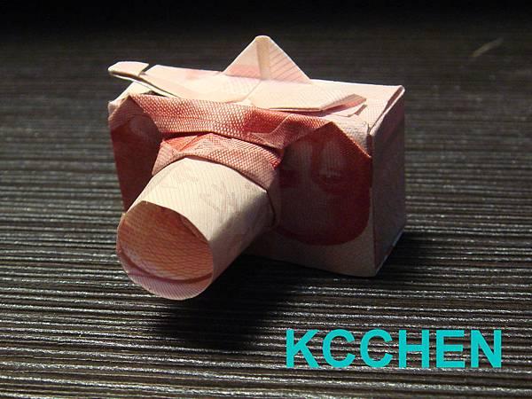 鈔票摺紙 相機 dollar bill origami19