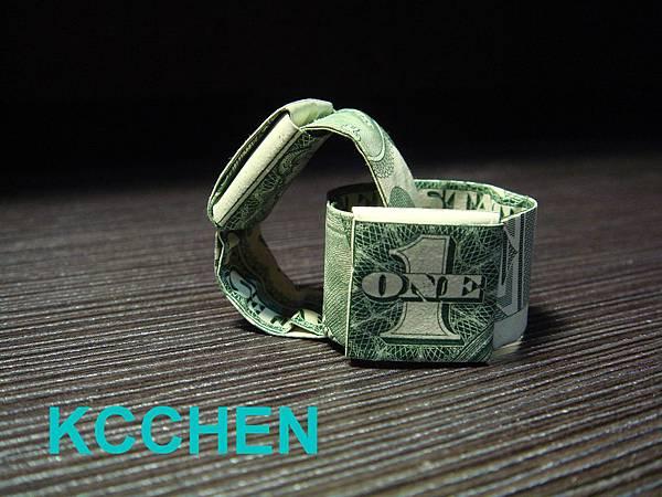 鈔票摺紙 美金戒指 dollar bill origami1