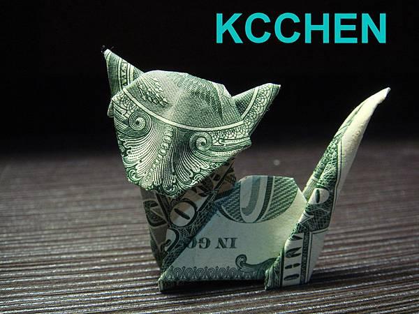 鈔票摺紙 貓咪 dollar bill origami1