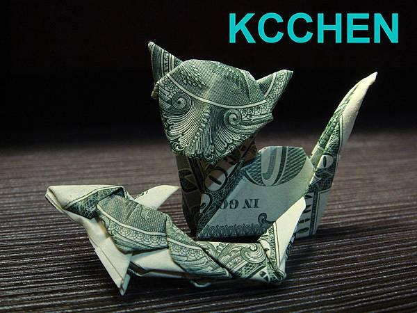 鈔票摺紙 貓咪 dollar bill origami4
