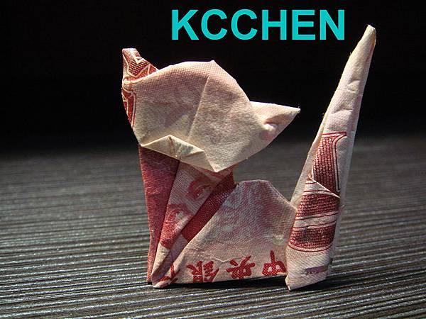 鈔票摺紙 貓咪 dollar bill origami5