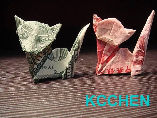 鈔票摺紙 貓咪 dollar bill origami6
