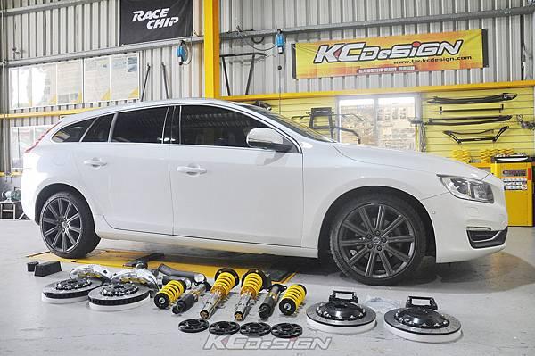 Volvo V60 D4 升級 KCDesign SM6 銀+350mm、後350mm打孔浮動烤銀、避震、渦輪管_002.jpg