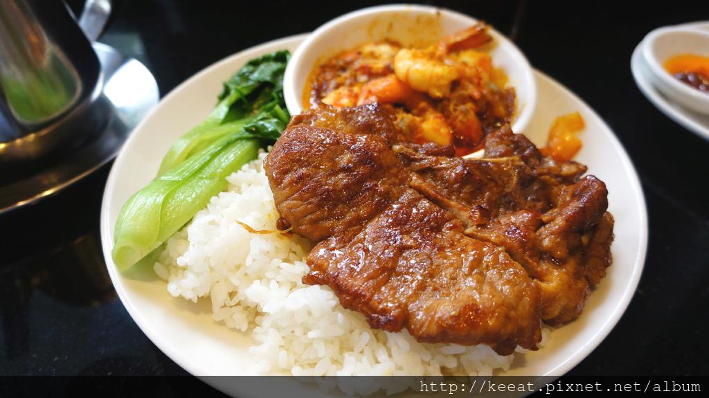 咖哩鳳尾蝦飯+豬排