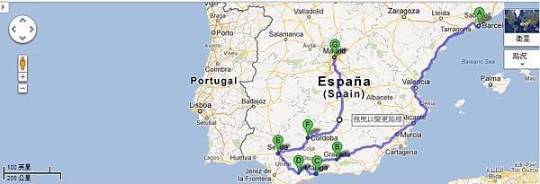 巴塞隆納→格拉納達→馬拉加→隆達→塞維亞→哥多華→馬德里