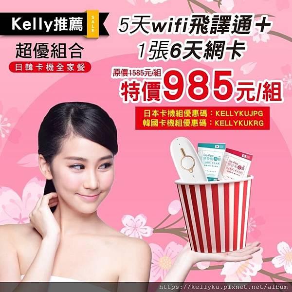 飛買家 日本 韓國 wifi機 sim卡組合 優惠碼 優惠代碼 985元