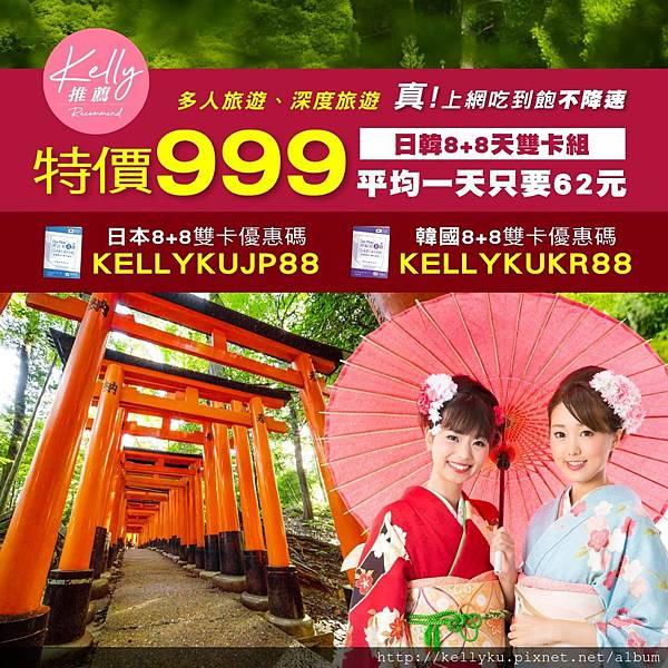 日本韓國雙卡組sim卡飛買家優惠碼折扣序號飛買家