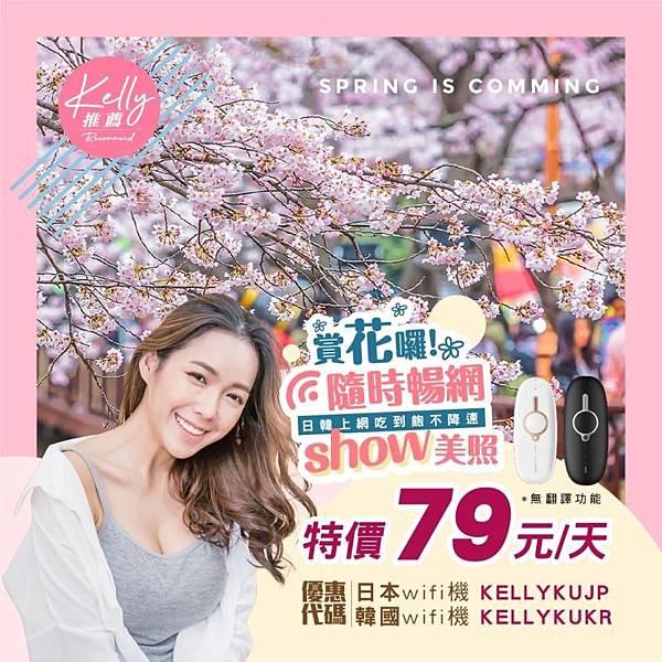 飛買家日本韓國WIFI機無限上網吃到飽79元優惠代碼折扣碼(賞花版)