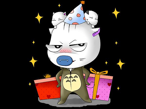 貓仔一歲生日圖