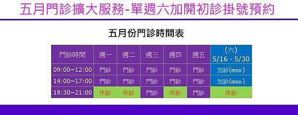 2015/05月門診時間表
