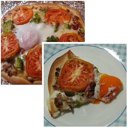 番茄菇菇青花椰半熟蛋pizza
