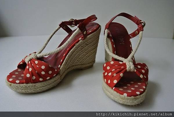 SENSE 1991海洋風紅白水玉編織楔型鞋1