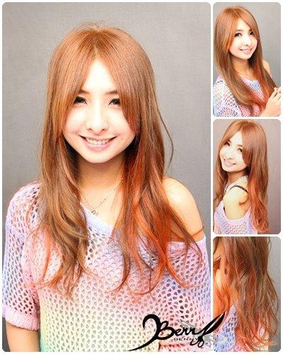 2012秋冬髮色 米黃 x 金橘色1