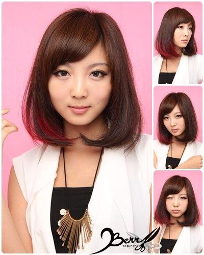 流行髮色 奶茶棕 挑染粉紅