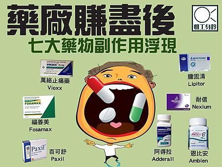 藥廠賺盡後,七大藥物副作用浮現